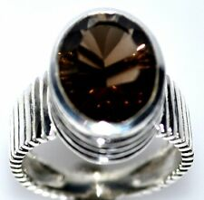 Sterling SILVER Solitaire Rings Smoky Quartz Topaz 925 Ring Sizes 5½, L to 10, U