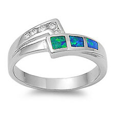 NICE! Sterling Silver Cz with Blue Opal Inlay Ring Sizes 5-9