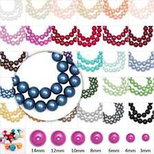 3/4/6/8/10/12/14mm Glass Pearl Round DIY Spacer Loose Beads 31 Color Choose