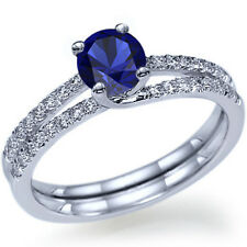 Round Cut Natural Blue Sapphire Engagement Ring 14k White Gold or Yellow Gold