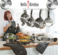 Hell's Kitchen Stainless Steel Pan Set Non Stick Frying Cookware Utensils Apron