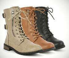 Womans Ladies Laced Up Military Style Combat Boots Shoes Black Tan Taupe NEW