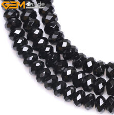 """AA grade natural rondelle faceted black agate onyx gemstone beads 15"""" size pick"""
