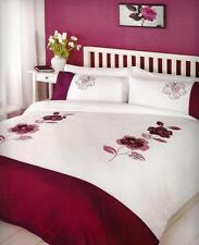 Bedroom Luxury Embroidered DELTA PLUM Duvet Cover & Pillow Case Set Double King