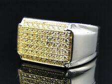 Hot Premium Mens White Gold Finish Stainless Steel Canary Lab Diamond Pinky Ring
