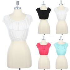 Ruffled Around Cap Sleeve Crop Top Shirred Neck and Hem Cute Rayon Span S M L