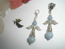 LARGE ANGELITE ANGEL CRYSTAL HEALING GEMSTONE CLIP ON CHARM KEYRING PENDANT