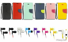 Wallet FLIP-CASE POUCH CARD HOLDER COVER+3.5 FLAT CORD HEADSET iPhone 4 4S