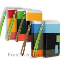 Stylish Leather Colour Stripe Wallet Case &Stand for Apple iPhone 4 4G iPhone 4S