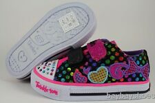 SKECHERS TWINKLE TOES LIGHT UP BLACK/PINK GLITTER HEARTS BOW VELCRO BABY TODDLER