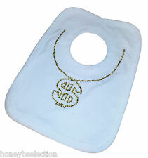 Gangster Chain Dollar Bespoke Baby Bib Boy Girl Newborn Bling Diamante Bespoken