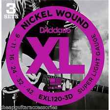 3 PACK D'ADDARIO EXL120 9/42 ELECTRIC GUITAR STRINGS EXL120-3D