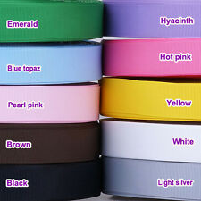 "5/50/100 Yards 25mm(1"") mixed colors solid grosgrain ribbon lot bow craft U pick"