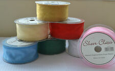 50mm Sheer Class organza ribbon flowers wedding lots of colours & lengths