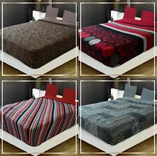 THICK Sumptuous Soft fleece flannel sherpa bed Blanket throw queen King 4 design