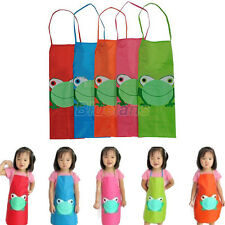 Kids Children Overclothes Cartoon Frog Print Waterproof Apron Painting Cooking