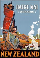 T42 Vintage New Zealand Haere Mai Welcome Travel Poster Re-Print A1/A2/A3/A4