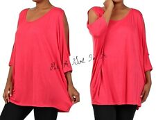 PLUS SIZE 3/4 SOLID CORAL PEEP WING COLD SHOULDER TUNIC SHIRT BLOUSE 1X 2X 3X