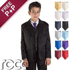 Black Page Boy Suit, Boys Wedding Suit, Boys Black Suit, Choice of tie colours