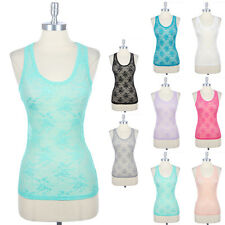 Women's Mesh Floral Lace Sleeveless Racerback Tank Top Round Neck Layering S M L