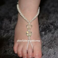 KIDS Barefoot Sandals IVORY HEARTS Beach Bridal Flowergirl Girls Foot Jewellery