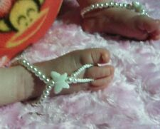 BABY  Barefoot Sandals WHITE BUTTERFLY Beach Bridal Christening Naming Day Girls