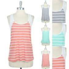 Striped Scoop Neck Contrast Sleeveless Racerback Tank Top Casual Easy Wear S M L