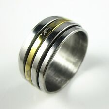 Men's Triped Polished Silver&Gold Stainless Steel 10mm Spin Band Ring Size 9-12