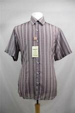 New Men's Clearance Inserch 100% Polyester Button Up Shirt Plaid Brown SN#87623