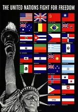 2W31 Vintage United Nations Fight For Freedom Allied War Poster WW2 A2 A3 A4