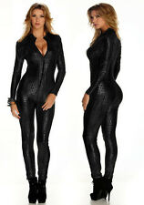 Sexy Lingerie PVC Goth Punk Vinyl Snakeskin Wetlook Overall Catsuit clubwear