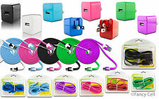 NEW 1AMP Micro USB Home Charger Adapter+Tangle Free OR Thick Data Cable (Combo2)