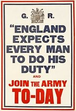 W79 Vintage WWI England Expects Do Your Duty Join The Army Poster WW1 A1/A2/A3/