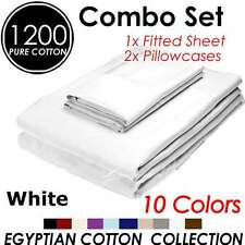 SOFT 1200+ COMFORTABLE AUS SIZE EGYPTIAN COTTON 3PC PILLOWCASE & FITTED SHEET