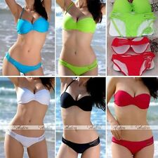 HOT Sexy Halter Lady Womens 2pcs Padded Bra Push Up Set Swimsuit Bikini Swimwear