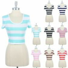 Two Colored Stripes Round Neck Short Sleeve Cropped Top Cotton Spandex S M L