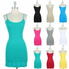 Seamless Bottom Ruffle Layering Bodycon Long Ribbed Tunic Camisole Dress Stretch
