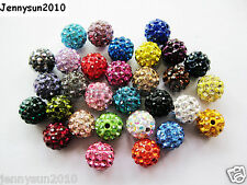 10Pcs Czech Crystal Rhinestones Pave Clay Half Drilled Disco Round Ball Beads