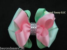 Easter 2-tone Boutique Rhinestone Layered 3 inch Hair Bow Pigtail Barrette Clip