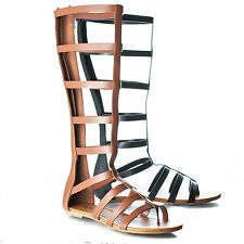Bappy Knee High Gladiator Strappy Flat Sandal Cage Wrap Women Shoes