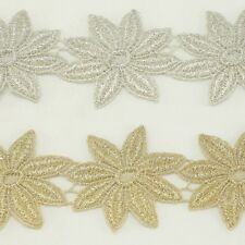 Flower Metallic Embroidered Venise Lace Trim #285 - Bridal Wedding Lace Trim