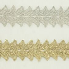 Unique Metallic Embroidered Venise Lace Trim #292 - Bridal Wedding Lace Trim