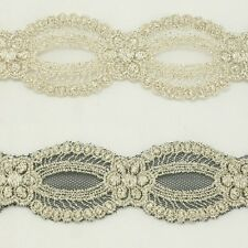 Unique Metallic Embroidered Venise Lace Trim #293 - Bridal Wedding Lace Trim