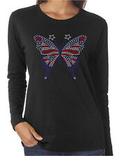 American Flag Butterfly Rhinestone Women's LS T-Shirts Patriotic 4th of July