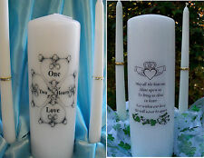 3 PC  Claddagh Irish Wedding Unity Candle Celtic Heart Clover Hands