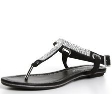 WOMENS BLACK STUD SPARKLY TOE POST THONG T-BAR STRAP FLAT SANDALS MARCO TOZZI