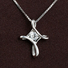 925 Sterling Silver Necklace with Line Cross Pendant Clear CZ