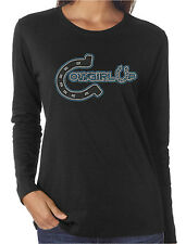 Cowgirl Up Horseshoe Rhinestone Women's LS T-Shirts Country Western Rodeo