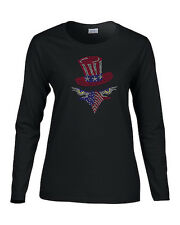 American Eagle Tophat Rhinestone Women's LS T-Shirts Patriotic 4th of July
