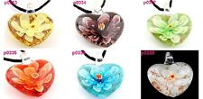 exquisite flower heart   art glass beaded pendant necklace P333-8